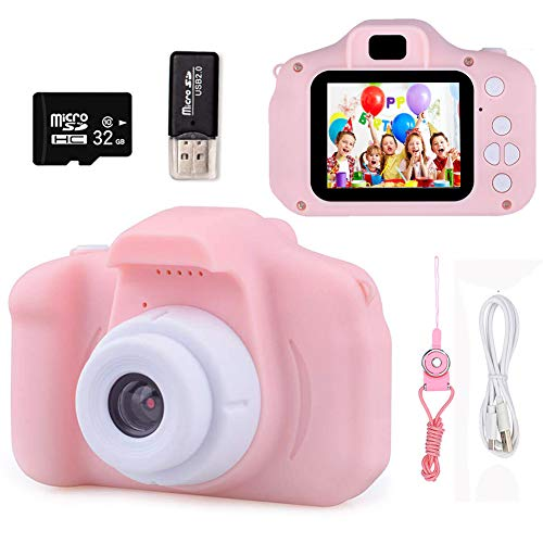 Kids Digital Camera Toys for Girls Age 3-8, Toddler Cameras Mini Pink Cartoon Electronic Video Child Camcorder Included 32GB Memory Card Childrens Education Toy Gift for 3 4 5 6 7 8 Years Old Girl