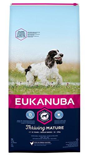 Eukanuba hondenvoer voor middelgrote rassen, premium droogvoer met vers kip, verschillende leeftijdscategorieën, Band., 15 kg, Mature & senior kleine & middelgrote rassen