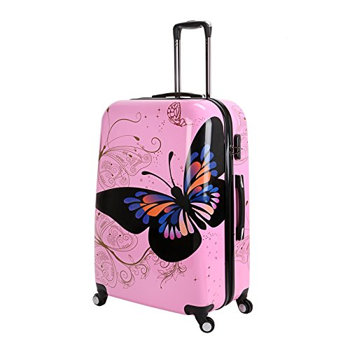 Hard Shell 4 Wheel Suitcase PC Luggage Trolley Case Cabin Hand Butterfly Pink (Large 28')