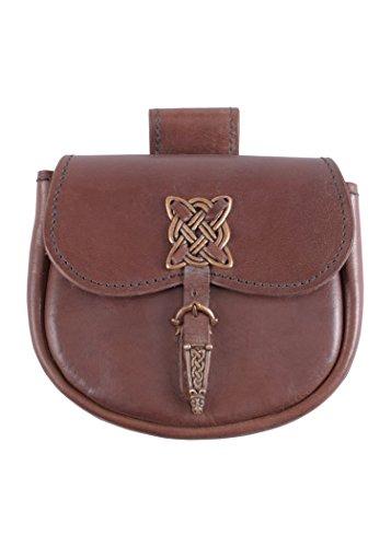 Gürteltasche mit keltischen Zierbeschlägen - LARP Leder Tasche