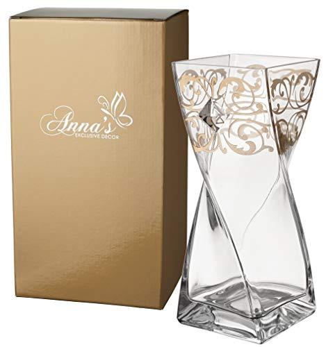 Anna's Exclusive Decor Diamond Collection - Jarrón de cristal decorado a mano con cristales de Swarovski® y decoración dorada - Caja de regalo dorada - 30 cm