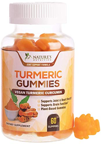 Turmeric Curcumin Gummies with Black Pepper, Extra Strength Absorption Chewable Vitamins Gummy, Best Vegan Joint Support Tumeric Supplement - Joint Comfort Support for Men - 60 Gummies