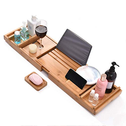 XHLLX Luxury Bath Caddy Tray for Tub | Bath Table | Premium Bamboo Bathtub Tray for Tub | Fits All Bath Accessories Wine Glass, Books, Tablets, Cellphones, Shampoo, Soap