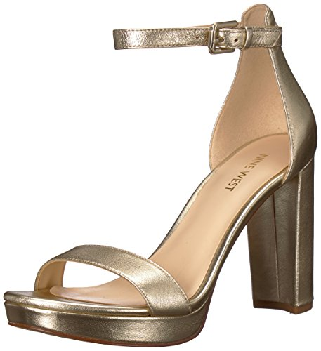 Nine West Damen, Peeptoe Sandalen Dempsey, Gold (Platino), 41 EU (11 US)