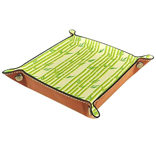 Bandeja de Cuero Versión ráster de rayas de bambú Almacenamiento Bandeja Organizador Bandeja de Almacenamiento Multifunción de Piel para Relojes,Llaves,Teléfono,Monedas