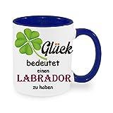 """"""" Glück bedeutet einen Labrador zu haben """" - Kaffeetasse mit Motiv, bedruckte Tasse mit Sprüchen oder Bildern (blau)"""