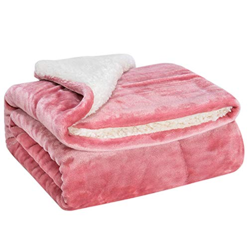 WONDER MIRACLE Fuzzy Sherpa Double Layers Super Thick and Warm Fleece Reversible Infant,Baby,Toddler,pet Blanket for Crib, Stroller, Travel, Couch and Bed (40Wx50L, S-Light Coral)
