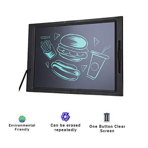 JRMU 20-Inch Pizarra LCD Tableta De Escritura, Abs Digital Bloc Electrónica Tableta Gráfica Bebedero Doodle Board Bloqueo del Botón De Borrado Incluido para Niños Adulto-Negro 48x34x1.4cm