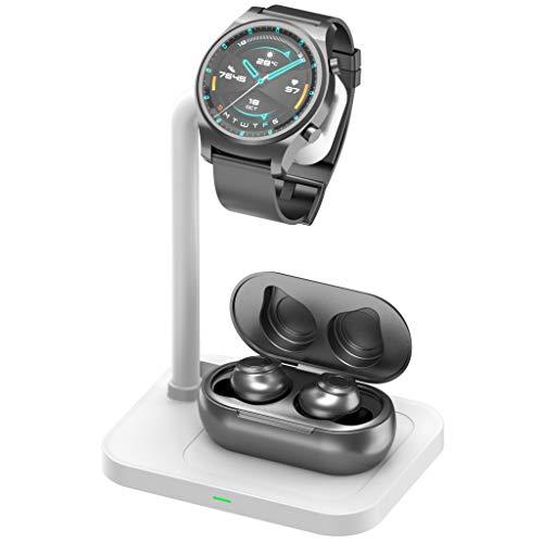 Supporto 2 in 1, caricatore Wrieless compatibile con iPhone/Huawei/Samsung/Airpods 2 / Pro, supporto di ricarica per iWatch, Samsung Galaxy Watch, Hua