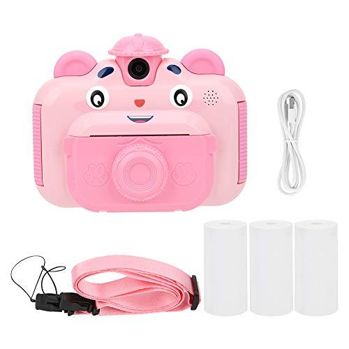 Ejoyous Kinder Kamera, 2,4-Zoll-Farbbildschirm Mini wiederaufladbare Sofortbildkamera Digitalkamera mit Anti-Drop-Silikon-Design und einem haltbaren Lanyard für Jungen und Mädchen(Rosa)