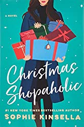 book cover of Christmas Shopaholic; green background with woman holding several wrapped boxes