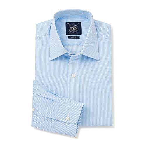 Savile Row Company Men's Blue White Ticking Stripe Slim Fit Shirt – Single Cuff