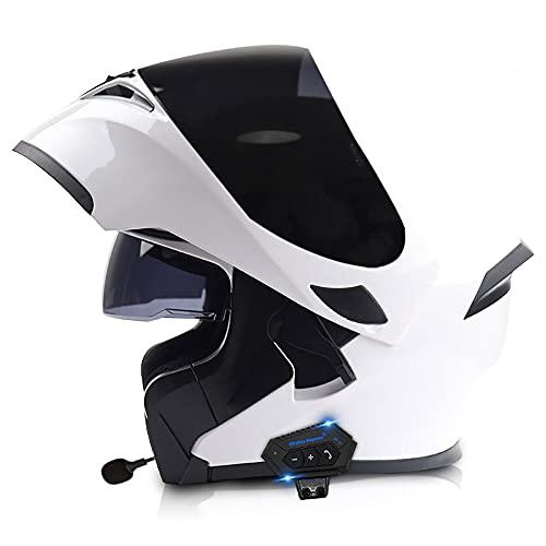 COKECO Bluetooth Casco Moto Modular Casco Anticolisión De Carreras Certificado ECE/Dot con Visera Solar Doble, Unisex 57~62 CM con Función De Respuesta Automática