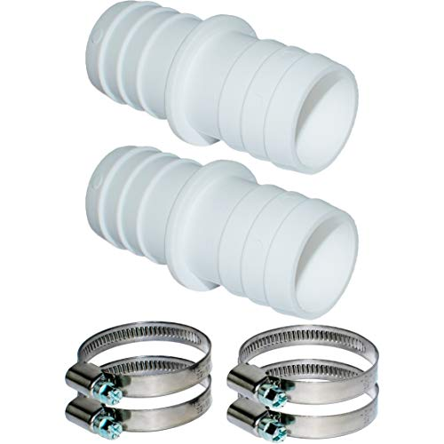 Pangaea Tech - Juego de 2 conectores de manguera de 32 mm de diámetro con abrazaderas de manguera de 1 1/4 pulgadas, adaptador de manguera de piscina