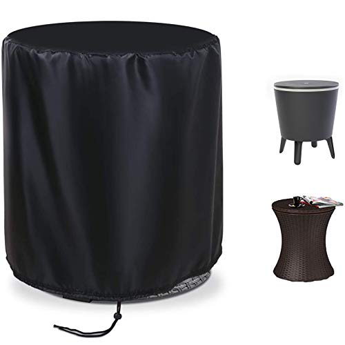 Fenghome 19 Inch Round Patio Cool Bar Table Cover, Waterproof Fade Resistant Fabric with Drawstrings for Small Coffee Cocktail Outdoor Furniture Side Tables, Diameter 19.5 x Height 22.5 Inches, Black