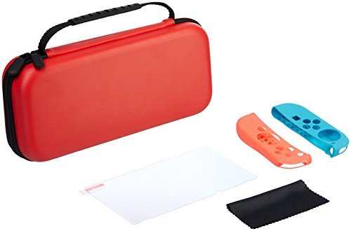 Amazon Basics - Schutz-Kit für die Nintendo Switch mit Tragetasche und Hartglas-Displayschutz - Rot