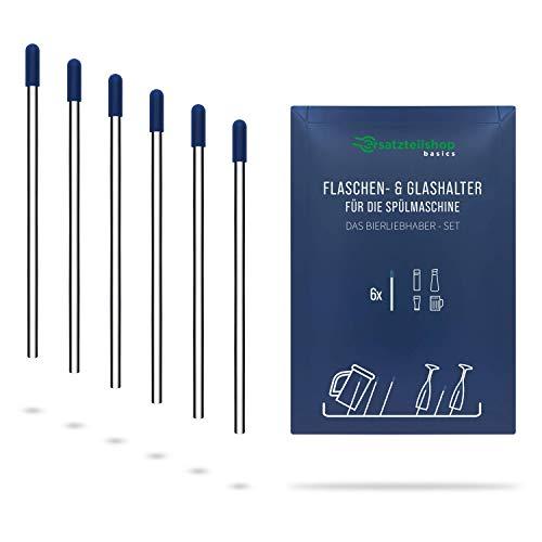 Edelstahl Flaschenhalter und Glashalter für Geschirrspüler/Spülmaschine mit blauen Kappen - Set Bierliebhaber - absolut kratzfrei - ersatzteilshop basics