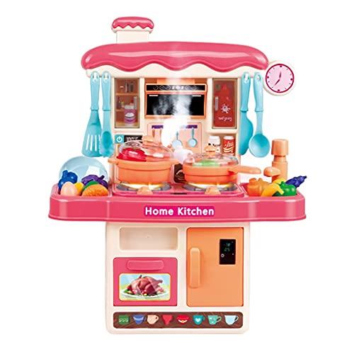BJYX Cocina Infantil Y Comida De Juguete con Efecto Luminoso - Divertido Set De Cocinitas De Juguetes Completo - Ideal Juguetes Niñas 3 Años Y Más (Color : Pink)