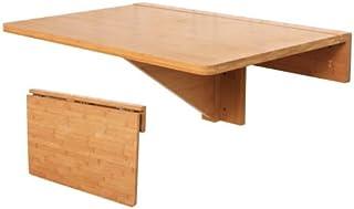 SoBuy® FWT031-N 100% Bambou Naturel Table Murale Rabattable Pliable de Cuisine, Table pour Les Enfants, Couleur Transparente