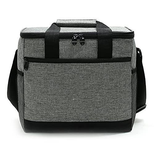 Noete Bolsa isotérmica plegable para picnic, bolsa isotérmica, bolsa isotérmica, bolsa isotérmica, bolsa para el almuerzo, con correa ajustable para el hombro, para picnic, camping, barbacoa (gris)