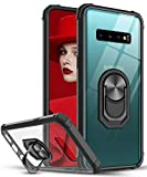 LeYi per Cover Samsung Galaxy S10+ Plus, Trasparente Custodia Rigida Silicone con Anello Magnetica Supporto Difesa Militare Rinforzata Antiurto Bumper per Custodie Originale Samsung S10 Plus Nero