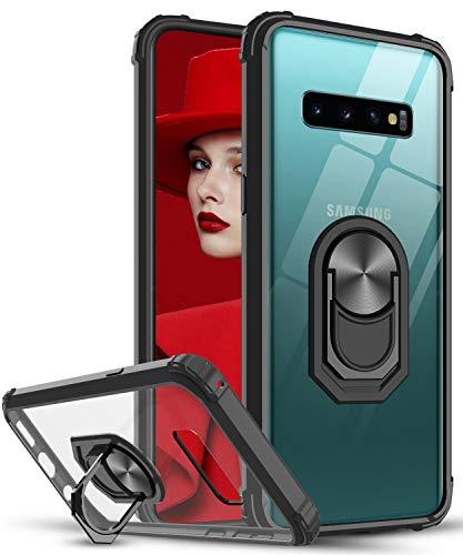 LeYi Funda Samsung Galaxy S10,Transparente Carcasa con 360 Grados iman Soporte Hard PC y Silicona Bumper Antigolpes Armor Case para Movil Samsung Galaxy S10,Clear Negro