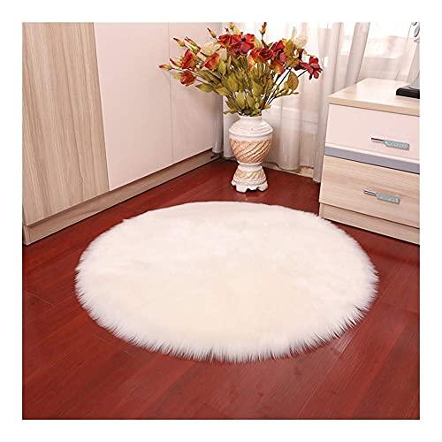 YWYW Alfombras de Piel de Oveja Artificial Suave de Forro Polar sintético para Silla, cojín de Asiento, alfombras Suaves y esponjosas para la Sala de Estar (Blanco Redondo, 45 x 45 cm)