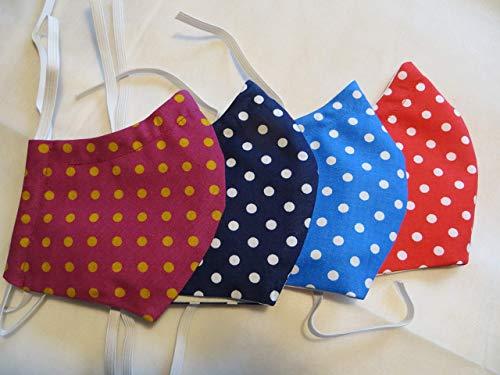 Behelfsmaske Punkte mit Filtertasche, Vlies und Nasenbügel, Mundschutz waschbar 60°, Maske in 3Größen