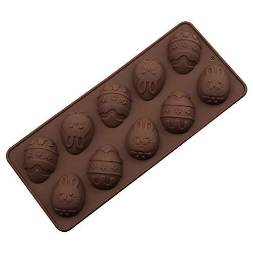 Ostern Kuchenform Silikon Backform Osterei Backform Osterhase Schokoladenform DIY Backen 3D Handmade Seifenform, Silikonform Backwerkzeug Eisform, 10 Gitter (A)