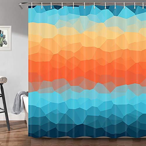 JAWO Ombre Duschvorhang für Badezimmer, Farbverlauf, geometrische Kunst, Stoff, Duschvorhang, 174 x 178 cm, Blaugrün/Blau/Orange