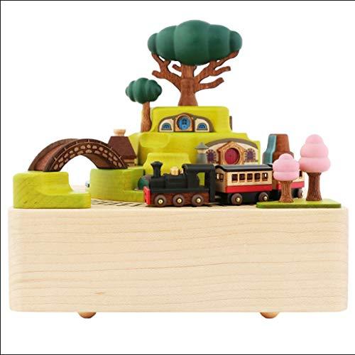 オルゴール オルゴール手作りの木製時計仕掛けの列車カルーセルオルゴールホームデコレーションクリスマス誕生日ギフト 贈り物 (Color : C Yellow)