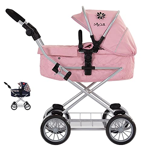 Play Like Mum Daisy Chain Destiny Travel System Dolls Pram - Adjustable handles from 54-87cms. For children of 5,6,7,8 or 9 years. In Classic Pink Fabric