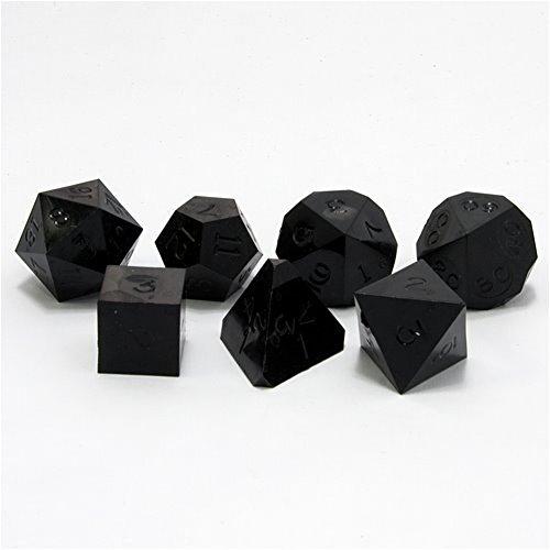 GameScience: Polyhedral 7-Die Set - Opaque Un-Inked Precision Dice - Coal Black
