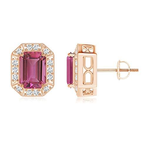 Pendientes de tuerca de turmalina rosa de corte esmeralda y halo de diamantes (turmalina rosa de 7 x 5 mm)