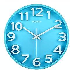 Filota Non-Ticking 100% Quiet Clock - for Kid's Room, Bedroom, Living Room, Kitchen, Restroom, Preschool Classroom, Daycare Classroom (3D Candy Blue)