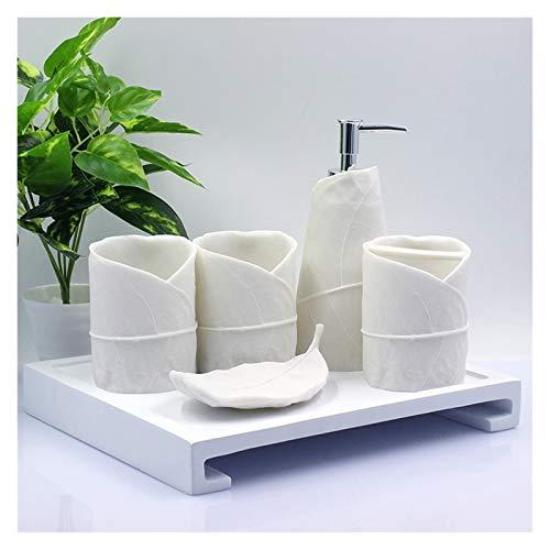 Dispensador JabóN Conjunto De Accesorios De Baño Blanco De 5 Piezas Conjunto De Baño De Resina De Forma De Hoja para El Regalo del Día De La Madre dispensador de jabón (Color : 4-Piece Bathroom Set)
