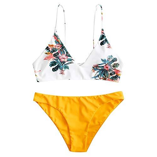 ZAFUL Damen Bikini Sets, Push-Up Spaghettiträger Bikini Obertiel Hoher Bund Pflanzenmuster Badehose Sommer,Gelb-a,L