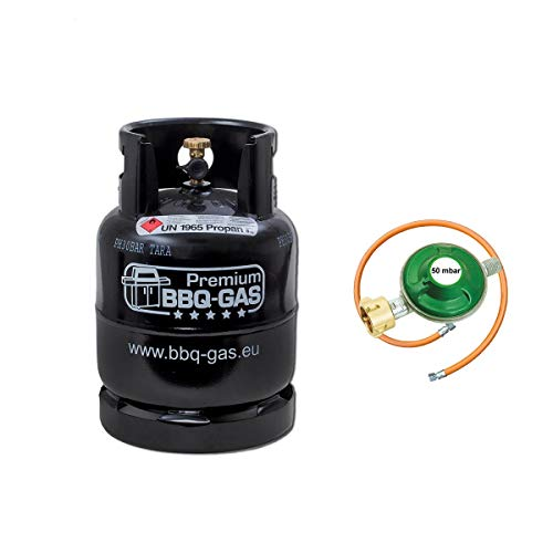 CAGO Premium BBQ Gasflasche 8kg ungefüllt im Set mit Gasregler 50 mbar und Gasschlauch 100 cm für Grill Unterschrank Campingkocher Gaskocher