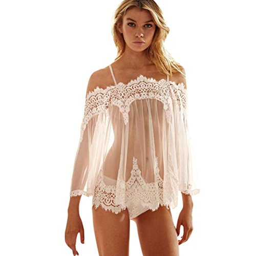 SPE969 Nightwear+G-String Babydoll Sleepwear Lingerie Underwear Lace Dress White