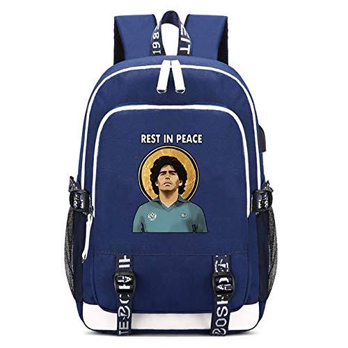 HUSTLE Maradona Mochila para Portátil con Puerto De Carga USB Y Conector para Auriculares para Trabajo Empresarial Viajes Diarios,Armada,A