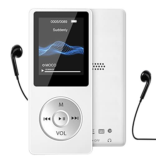Lettore MP3, Lettore Musicale da 16GB per Sport e Corsa 30 Ore Lettore Musicale digitale portatile con 1,8 Pollici Schermo con Altoparlante Radio FM Registratore Vocale, Espandibile fino 128GB