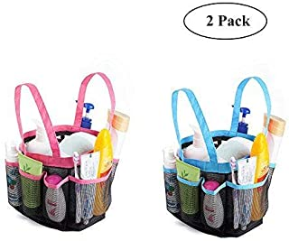 Huihuiyang Mesh Shower Caddy Tote Bag - Portable Storage Organiser with 8 compartments Hanging Bath Toiletry Mesh Bag for Bathroom, Gym, Swimming,Travelling (2 Pack, Pink + Blue)