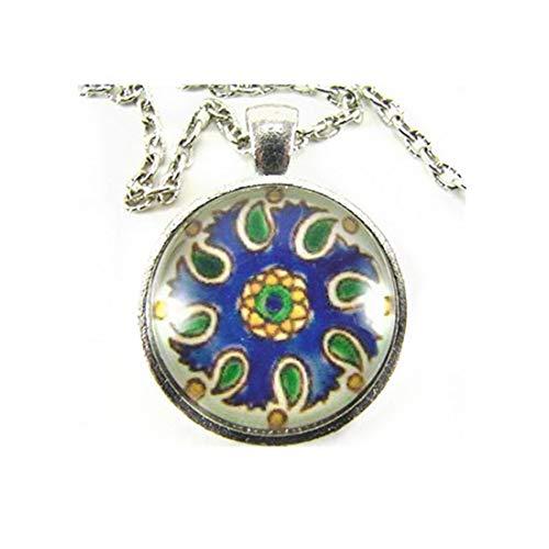 Sunshine - Collar de Azulejos de Cocina mediterránea y Cachemira de Oro Verde Azul capturado en un azulejo español Pintado a Mano, símbolo de Amistad
