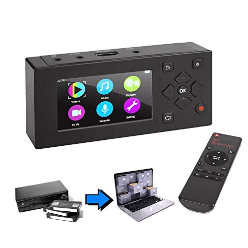 VHS Video to Digital Converter AV File Recorder for Hi8 8 Camcorder Tape VCR DVR DVD CD Cassette Game - Standalone RCA Recording Player Audio Capture Card Device Analog Digitizer w/Real-time Watching