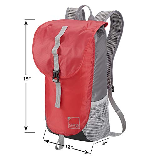 Lewis N. Clark Unisex-Adult Lightweight Day Pack Casual Daypack, Red/Gray, One size
