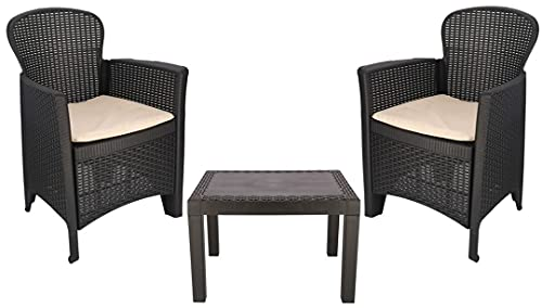 Rattan Garden Table and Chairs Set Set Of 2 Garden Chairs With Cushions and Table Patio Set