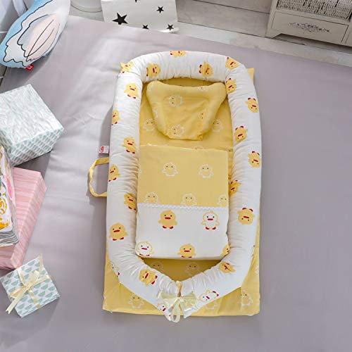 Baby Lounger Bed Baby wieg quilt hals kussen (3-delige set), Anti-allergeen, Soft(0~2 Jaar oude baby), Grootte: 90x55x15cm Geel