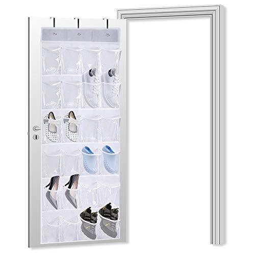 QUMENEY Organizador de zapatos con 24 bolsillos para colgar sobre la puerta, organizador plegable para zapatos con ganchos, soporte de malla para colgar de alta resistencia para el baño, armario