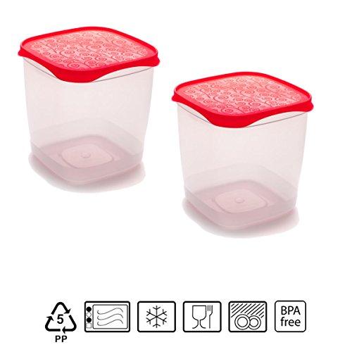 Set de 2 Coupelles hermeticos carrés avec couvercle rouge de 1,4 litres – BPA Free.