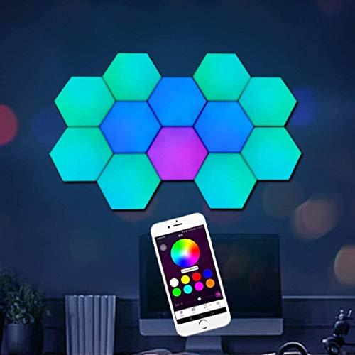 BDXZJ Sechseckige Quantenlampe 16 Millionen Farben Ändern App Gesteuert RGB Dimmbar LED Smart Modular Wandleuchte USB-Aufladung DIY Magnetische Anziehung Wanddekoration, 6Pack